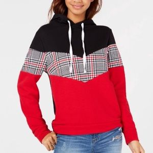 Red black plaid color block warm hoodie size S
